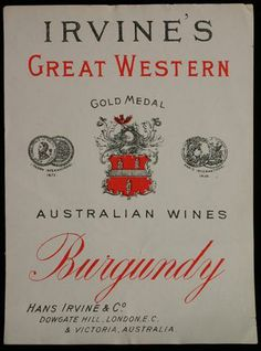 Wine Label - Great Western Winery, Burgundy, 1905-1918