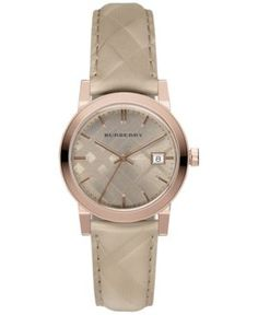 Burberry Women's Swiss The Classic Round Trench Check-Embossed Leather Strap Watch 34mm BU9154 - Gold