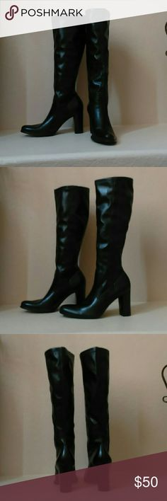 "Franco Sarto Vegan Leather Block Heel Boots Stunning vegan (faux) leather black heel boots in size 8M. The tops have some stretch and the heels are 3.25"". From the sole to the top of the boot is 17.75"". The show very little signs of wear even on the sole. Franco Sarto Shoes Heeled Boots"
