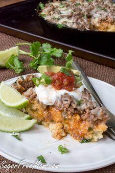 Low Carb Mexican Tamale Pie- gluten free, grain free- http://sugarfreemom.com