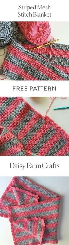 FREE PATTERN Striped Mesh Stitch Blanket by Daisy Farm Crafts