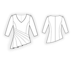 Blouse With Pleats  - Sewing Pattern #4419 Made-to-measure sewing pattern from Lekala with free online download.