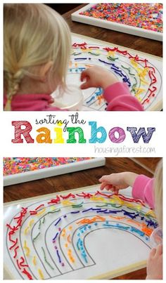 Sorting the Rainbow ~ Fun spring activities for preschoolers. Learn about colors and textures. Preschool Arts And Crafts, Kindergarten Art Projects, Creative Activities For Kids, Work Activities, Spring Activities, Color Activities, Infant Activities, Preschool Activities, Rainbow Activities