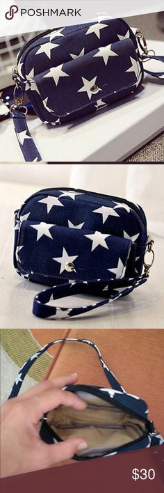 Mini Canvas Bag Cross-Body Single-Shoulder Bags Brand new.   Color: Dark blue                   Material: Canvas Gender: Women Style: Fashion Bag Type: Mini Cross-Body Single Shoulder Bag Pattern: Star Opening Mode: Zipper Size: 16×19cm/6.3×7.5in(L×W) Thickness: 5cm/2.0in Shoulder Strap Length: 120cm/47.2in Weight: 150g Bags Crossbody Bags