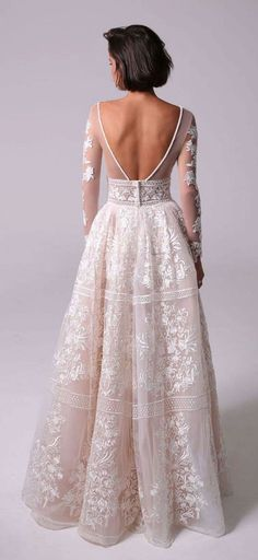Wedding Dress : Blake by Michal Medina. A beautiful back deserves and elegant finish! The Diamond Falls - Pearl Necklace, https://naughtonbraun.com/diamond-falls-pearl-necklace