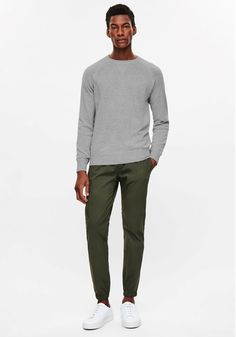 Today's Look: Coloured Chinos. Photo: COS. #ootd #menswear #mensfashion #mensstyle #instafashion #colouredchinos #sweatshirt