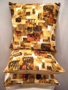 Handmade retro cushion using original 1950's 60's barkcloth fabric for the fronts.