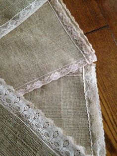 Lace edged hessian table runners from Simply Bows and Chair Covers Berkshire