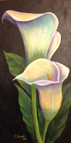"Beautiful painting idea. I love the subtle rainbow pastel colors. 15"" x 30"" calla lily acrylic painting. Please also visit www.JustForYouPropheticArt.com for more colorful art you might like to pin or purchase. Thanks for looking!"
