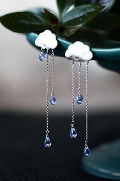 SUMMER RAIN silver long chain light blue drops rain cloud