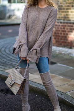 Stuart Weitzman grey suede OTK Highland boots, beige suede Gucci dionysus bag, skinny jeans, autumn fall outfit