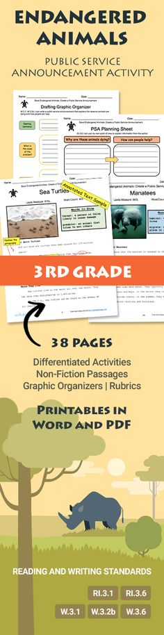 Save Endangered Animals: Make a Public Service Announcement activity for 3rd grade! Printable resource from goalbookapp.com that you can download in Word and PDF to use in your classroom (38 pages). Includes Rubrics, Leveled, Non-Fiction Texts (with Lexile Levels), and Graphic Organizers. Differentiated, Hands-on activities for students. Covers third grade Reading and Writing Standards RI.3.1, RI.3.6, W.3.1, W.3.2b, W.3.6