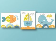 Nursery art baby nursery kids room children art nautical whale Boat fish orange blue bathroom Set of three  8x10 prints
