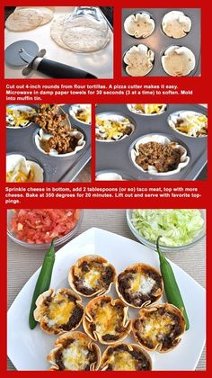 Mini taco shells - cut mini shell using glass/cookie cutter (or make minis from scratch)