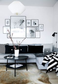 black and white nordic living room
