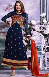Picture of Aesthetic Royal Blue Color Churidar Kameez