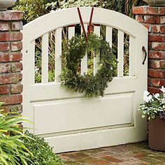 Garden To-Do List Like the arch and the slats that allow visuals through the wide gate.Like the arch and the slats that allow visuals through the wide gate. Garden Gates And Fencing, Fence Gates, Front Gates, Front Entry, Gate Design, Beautiful Christmas, White Christmas, Merry Christmas, Country Christmas