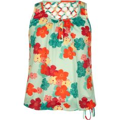 FULL TILT Floral Girls Ladder Back Top (1.125 RUB) ❤ liked on Polyvore featuring multi