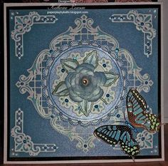 Blue Butterfly and Rose Card