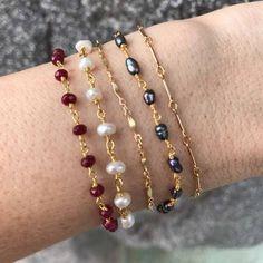 Layering Bracelets, ruby bracelet, pearl bracelet #3goldbracelets Arrow Bracelet, Ruby Bracelet, Diamond Bracelets, Gemstone Bracelets, Sterling Silver Bracelets, Jewelry Bracelets, Silver Earrings, Strand Bracelet, Ankle Bracelets