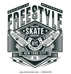 Free style skate sport typography, t-shirt graphics, vectors