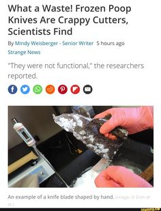 """What a Waste! Frozen Poop Knives Are Crappy Cutters, Scientists Find By Mindy Weisberger - Senior Writer 5 hours ago Strange News """"They were not functional,"""" the researchers reported. An example of a knife blade shaped by hand. Funny Frozen Memes, Link Meme, History Jokes, Writing Memes, 5 Hours, Scientists, Popular Memes, Creative Art, Knives"""