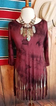 COWGIRL GYPSY Top Tunic FRINGE hem TIE DYE Hippie 70's fashion Ladies LARGE | eBay