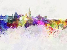 Seville skyline in watercolor background by Pablo Romero