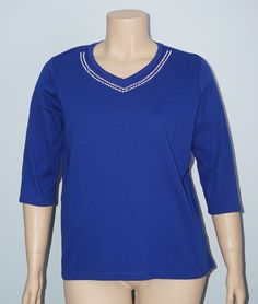 Quacker Factory Sz XL Royal Blue Rhinestone V-Neck 3/4 Sleeve Knit Top Tee Shirt #QuackerFactory #KnitTop