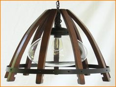 The Wine Barrel Chandelier handcrafted from reclaimed French Oak