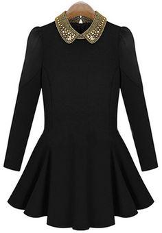 Vestido plisado solapa perlas manga larga-Negro EUR€23.75