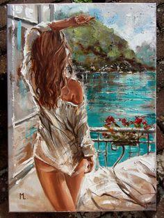 Monika Luniak - Paintings for Sale Painting Collage, Oil Painting On Canvas, Canvas Art, Woman Painting, Art Sketches, Art Drawings, L'art Du Portrait, Frida Art, Beautiful Paintings
