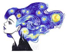 Starry Night or Fine Art Print by di LeilaniJoyArt inspiration art Starry Night Fine Art Print by Leilani Joy Art Inspo, Kunst Inspo, Inspiration Art, Art And Illustration, Illustrations, Art Amour, Arte Van Gogh, Van Gogh Art, Art Du Croquis