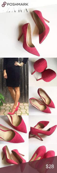 """Pink/Red Faux Suede Heels by ZARA Zara court shoe in pink/red faux suede in really good condition - worn only a handful of times, minimal normal wear. Asymmetrical design.  Insole and outsole have been clorox-wiped. Comes with Shoe Petal inserts to keep your foot from sliding forward in the shoe - They go in all my heels! Zara size 37, fits a true 6.5. Insole measures approx. 9.5"""" and 4"""" heel. No box. Zara Shoes Heels"""