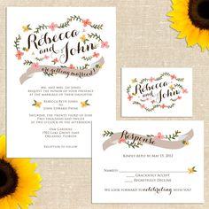Carolina Wedding Invitation  Customizable by YellowBrickGraphics
