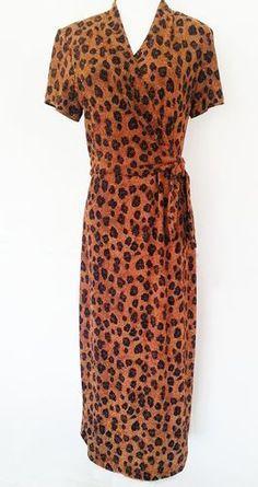 Vintage Virgo   Half Wrap Dress  Metallic Gold Leopard    Gorgeous Sexy Bodycon Glimmering Dress! Size 8