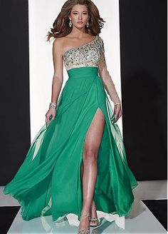 Buy discount Fabulous Tulle & Silk-like Chiffon One-shoulder Neckline A-line Evening Dresses with Beadings & Rhinestones at Dressilyme.com