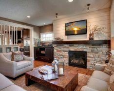 stone fireplace - reclaimed mantle - white shiplap   Cabin dreams ...