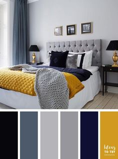 navy blue yellow and grey bedroom grey and blue decor with pop of color bedroom decor inspiration navy blue grey yellow bedroom Blue Bedroom Colors, Navy Blue Bedrooms, Bedroom Color Schemes, Colourful Bedroom, Bedroom Black, Bedroom Yellow, Mustard Bedroom, Gray Color Schemes, Grey Bedroom With Pop Of Color