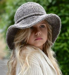 Knitting pattern for Adult and Child Freelyn brimmed hat with wide floppy brim