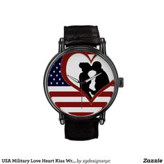 USA Military Love Heart Kissing Couple Wrist Watch. #Patriotic #Military #USA #Watch