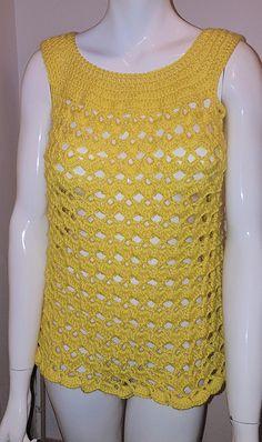 lovely handmade yellow swimsuit cover top  bikini cover t