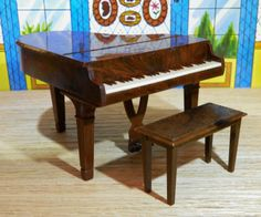 Renwal Piano and Bench Vintage Dollhouse Furniture Plastic