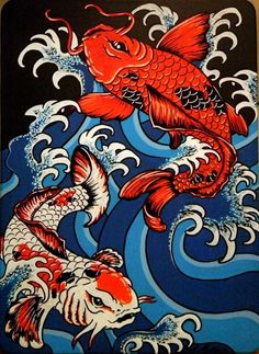 Pisces Koi - painting [Would make an awesome tattoo!]