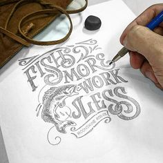 Sketching Fish More Work Less. The more you fish the more you feel alive.  Get the best flying rods and pipes at @moonshineusa www.moonshinepipes.com  #flyrod #pipes #fish #fishing #lettering #typography #calligraphy #illustration #design #ideas #inspirations #drawings #sketch #handmadefont #goodtype -----------------------------------------