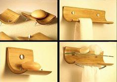 Jaboneras y toalleros hechos con Bambú. Varios tamaños y modelos.