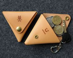 Triangle Leather Coin Case with Key Ring.