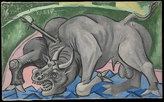 Dying Bull Pablo Picasso (Spanish, Malaga Mougins, France ) Date: 1934 Medium: Oil on canvas Dimensions: 13 x 21 in. x cm) Classification: Paintings Pablo Picasso, Museum Of Fine Arts, Museum Of Modern Art, Art Museum, Trinidad, Famous Pictures, Picasso Paintings, Flavio, Georges Braque