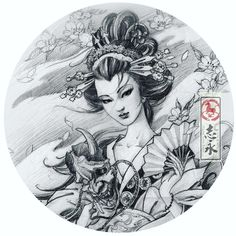 Geisha x Hannya By 💥 💥 Japanese Tattoo Words, Japanese Tattoo Symbols, Japanese Drawings, Japanese Dragon Tattoos, Japanese Tattoo Designs, Japanese Sleeve Tattoos, Geisha Tattoos, Geisha Tattoo Design, Japanese Geisha
