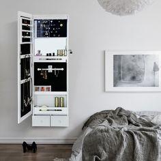 Songmics Armoire à Bijoux Psyché Murale Suspendue blanc avec Serrure /Miroir intérieur/LED JBC28W